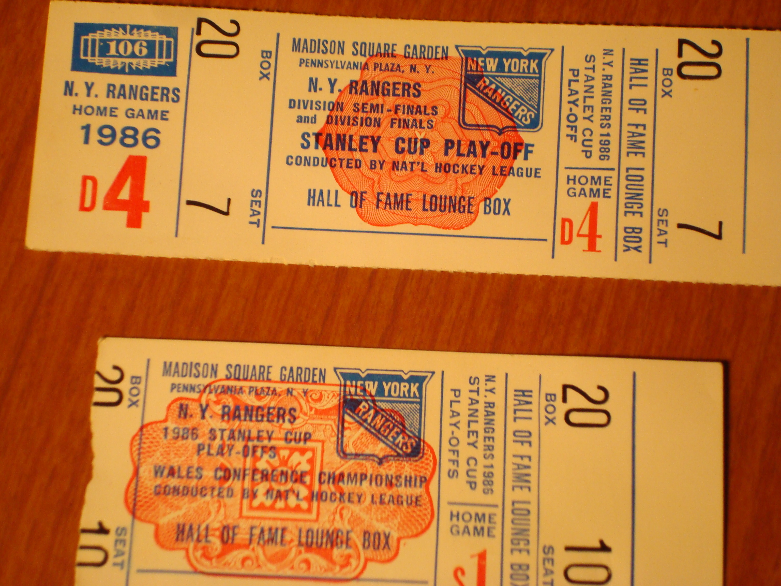 Official Tickets to Hall of Fame Lounge Box for 1986 NHL Stanley Cup Playoffs for New York Rangers Hockey Club