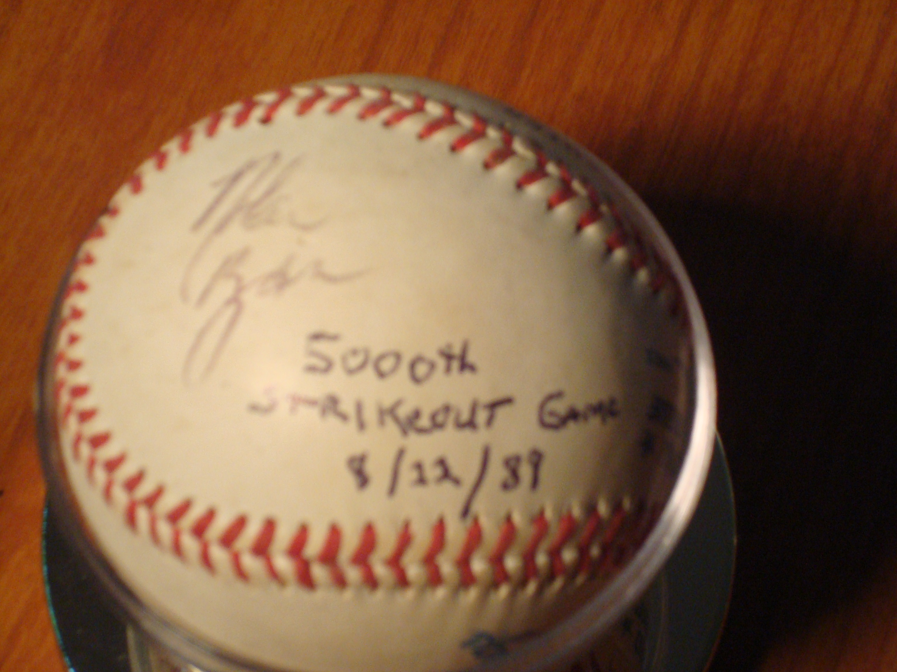 Original Ball Autograph 1989 Nolan Ryan Ball on his 5,000 Strikeout of Rickey Henderson