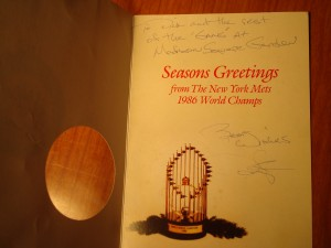Official 1986 MLB World Champion New York Mets Christmas Card sent to Bone Daddy from OF Daryl Strawberry.