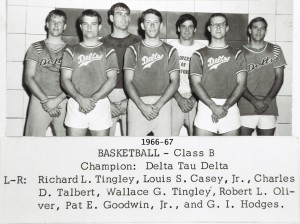 1966-67 UT Intramural Wall of Fame All University Class B Basketball Champions Delta Tau Delta Fraternity