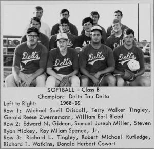 1968-69 UT Intramural Wall of Fame Class B Softball Champion Delta Tau Delta