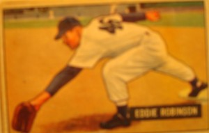 Original Baseball Card 1951 Bowman New York Yankees 1B Eddie Robinson