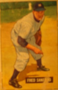 Original Baseball Card 1951 Bowman New York Yankees P Fred Sanford