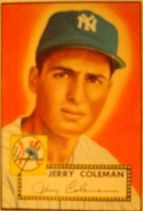 Original Baseball Card 1952 Topps New York Yankees SS Jerry Coleman