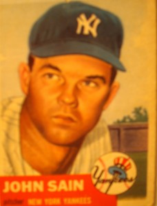 Original Baseball Card 1953 Topps New York Yankees P John Sain