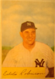 Original Baseball Card 1954 Bowman New York Yankees 1B Eddie Robinson