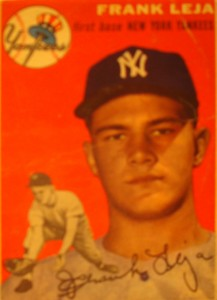 Original Baseball Card 1954 New York Yankees 1B Frank Leja