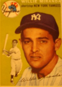 Original Baseball Card 1954 New York Yankees SS Willie Miranda