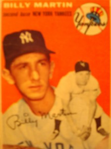 Original Baseball Card 1954 Topps New York Yankees 2B Billy Martin