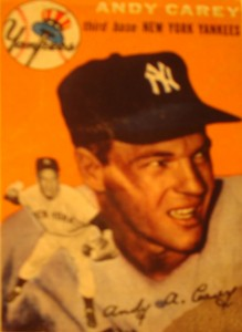 Original Baseball Card 1954 Topps New York Yankees 3B Andy Carey