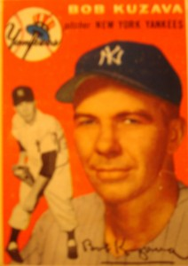 Original Baseball Card 1954 Topps New York Yankees P Bob Kuzava