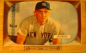 Original Baseball Card 1955 Bowman New York Yankees OF Irv Noren
