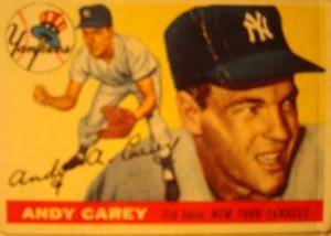 Original Baseball Card 1955 Topps New York Yankees 3B Andy Carey