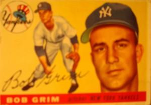 Original Baseball Card 1955 Topps New York Yankees P Bob Grim
