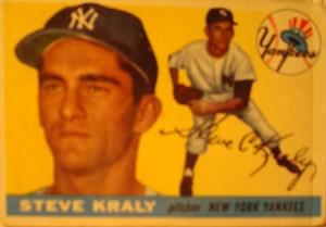 Original Baseball Card 1955 Topps New York Yankees P Steve Kraly