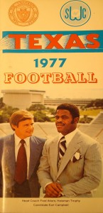 1977 NCAA Football Champion University of Texas Media Guide featuring Heisman Trophy Winner Earl Campbell and Coach Fred Akers
