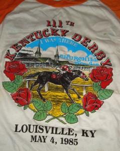 Official T-shirt 1985 Kentucky Derby with Winner Spend A Buck ridden by Jockey Angel Cordero Jr.