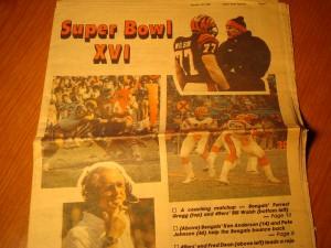 1982 NFL Super Bowl XVI with San Francisco 49'ers (Coach Bill Walsh) vs Cincinnatti Bengals (Coach Forest Gregg) Newspaper Article