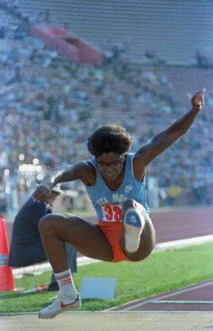 Photo of 1985 NCAA Indoor Track & Field Championship Women's Broad Jump & Mens 880 Yd Run