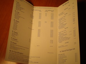 MLB - 1986 Shea Stadium Diamond Suites Menu and Bill of Fare
