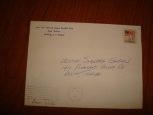 MLB - Officail Envelope of 1986 World Series Champions New York Mets