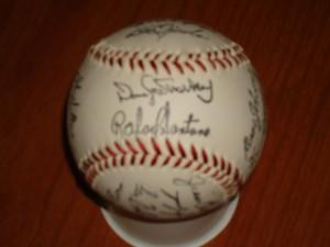 MLB - Official 1986 World Champion New York Mets Autograph Team Ball featuring Darryl Strawberry & Rafeal Santana