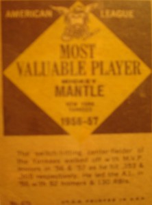 Original Baseball Card 1956 Backside of American League MVP New York Yankees CF Mickey Mantle