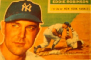 Original Baseball Card 1956 New York Yankees 1B Eddie Robinson