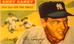 Original Baseball Card 1956 Topps New York Yankees 3B Andy Carey