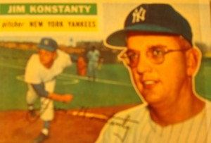 Original Baseball Card 1956 Topps New York Yankees P Jim Konstanty