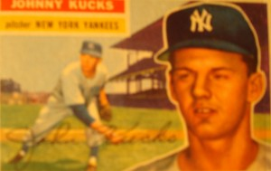 Original Baseball Card 1956 Topps New York Yankees P Johnny Kucks