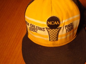 NCAAM - Official Hat 1982 NCAA Final Four from New Orleans Superdome with Georgetown University, University of Houston, University of Louisville and University of North Carolina