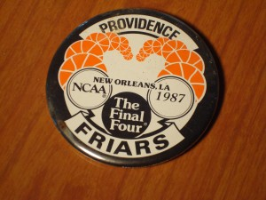 NCAAM - Official Pin of 1987 Men's Basketball Final Four from Louisiana Superdome, New Orleans, LA featuring the Providence College Fryars coached by Rick Pitino