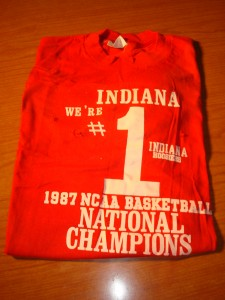 NCAAM - Official T-shirt 1987 Men's Basketball Champion University of Indiana Hoosiers coached by Bobby Knight