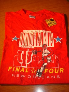 NCAAM - Official T-shirt 1987 Men's Basketball Tournament from New Orleans Superdome featuring eventual Champion Indiana Hoosiers coached by Bobby Knight