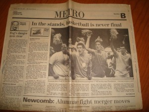 NCAAM - Original Sunday, March 29, 1987 Edition New Orleans Times-Picayune Metro Section coverage of Men's Basketball Final Four Semi-Finals featuring Syracuse Orangemen fans