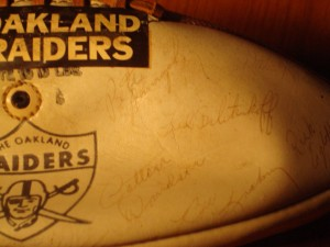 NFL - 1967 Oakland Raiders Autograph Team Ball - WR Fred Bilitnekoff, C Jim Otto, OT Art Shell, QB George Blanda