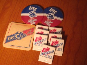 NFL - Official Lite Beer Super Bowl XXI Souveniers - beer coasters, match books and commemorative pins