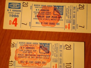 NHL - Official Tickets to Hall of Fame Lounge Box for 1986 NHL Stanley Cup Playoffs for New York Rangers Hockey Club