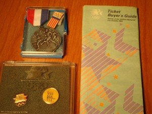 Official 1984 Los Angeles Olympics Ticket Buyers Guide, Olympic Pins & Olympic Running Medal