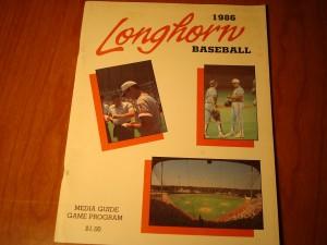 Official 1986 NCAA University of Texas Baseball Media Program Guide featuring Coach Cliff Gustafson, Disch-Falk Field, P Calvin Schiraldi