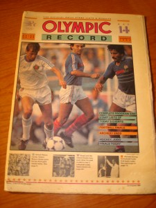 Official August 11, 1984 Daily Start Times and Results OLYMPIC Record featuring Men's Soccer Final, Rose Bowl, France vs Brazil, Men's Volleyball Final - USA vs Brazil