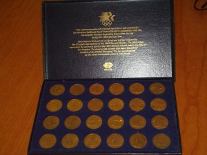 Official Commemorative 1984 Los Angeles Olympics Set of 24 SCRTD Transit Tokens designed by N. Neil Harris