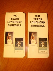 Official Media Guide 1983 NCAA University of Texas Longhorn Baseball featuring SWC Player of the Year SS Spike Owen & SWC Coach of Year Cliff Gustafson