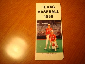 Official NCAA Baseball 1980 University of Texas Guide featuring P Keith Creel & C Kevin Shannon