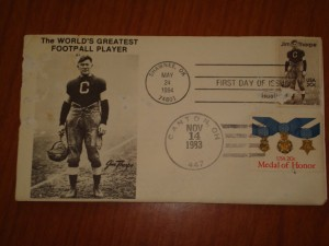 Official NFL Hall of Fame Postcard mailed from Canton, Ohio with Jim Thorpe using USA Hall of Fame Stamp mailed Nov 14, 1983