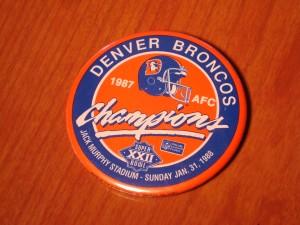 Official NFL Pin of AFC Champion Denver Broncos from January 31, 1988 Super Bowl XXII at Jack Murphy Stadium, San Diego, CA between Washington Redskins vs Denver Broncos
