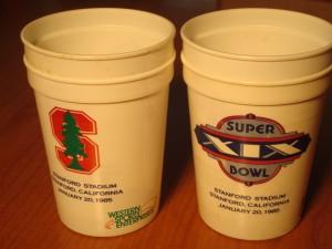 Official NFL Souvenir Drink Cup for 1985 Super Bowl XIX - San Francisco 49'ers vs Miami Dolphins