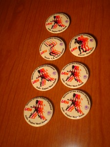 Official Pins of the 1984 Los Angeles Olympics for Judo, Tennis and Soccer