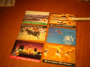 Official Post Card Souveniers of Los Angeles Olympics featuring Equestrian Horse Jumping, Swimming, Track & Field
